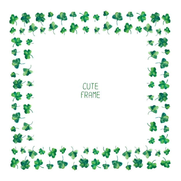 Frame of watercolor green clover leaves for Saint Patrick day Vector - green photo frame