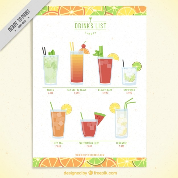 Fruit drink list template Vector Free Download - list template free