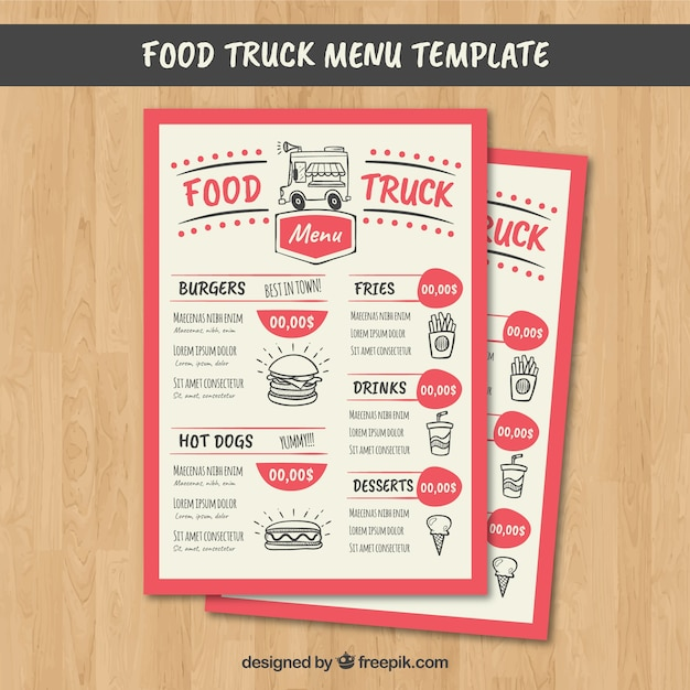 Download Vector - Food truck menu with mexican food - Vectorpicker - food truck menu template