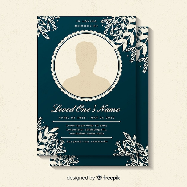 Funeral card template Vector Free Download