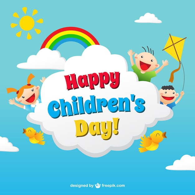 Funny children\u0027s day card in colorful style Vector Free Download