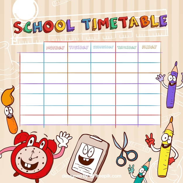 Funny school timetable template Vector Free Download