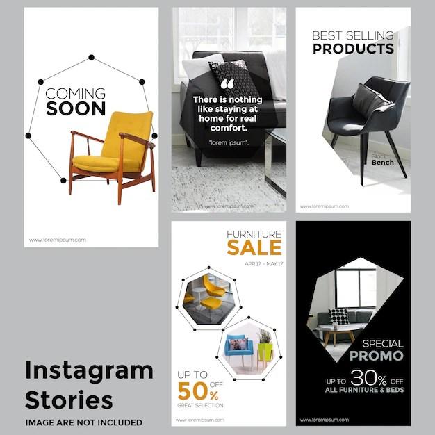Furniture social media stories template Vector Premium Download