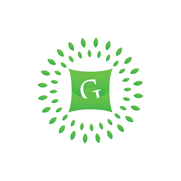 G letter on pillow and green leaf with for hotel or business