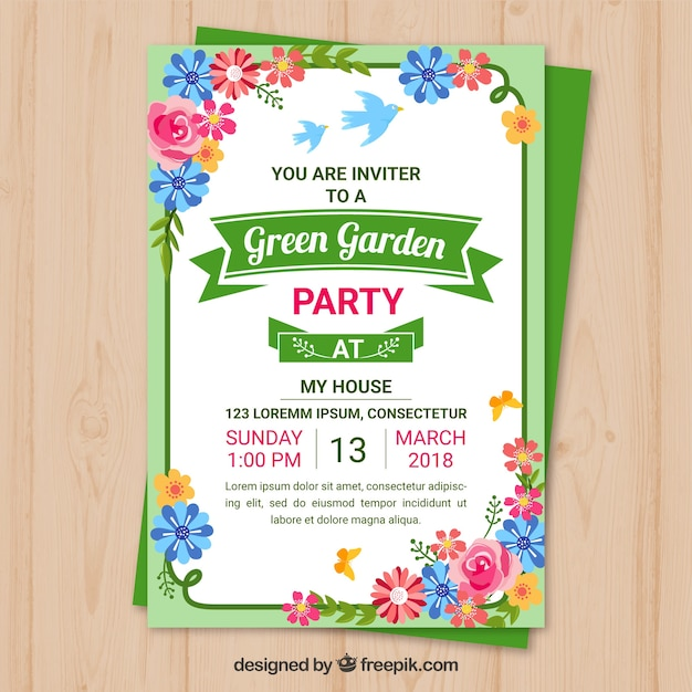 Garden party invitation template design Vector Free Download - free party invitation templates