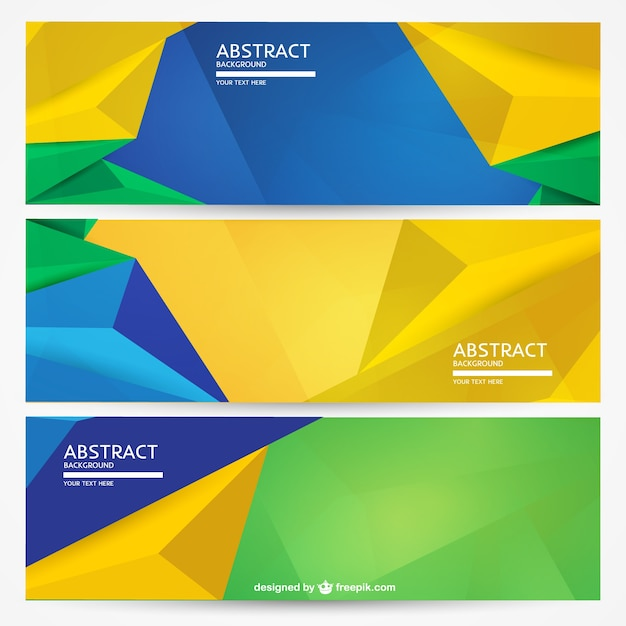 Geometric Brazil banners background set Vector Free Download