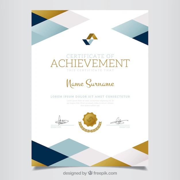 Geometric certificate of achievement Vector Free Download - certificates of achievement free templates