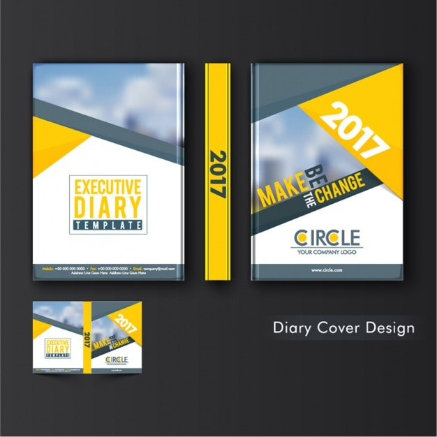 Geometric diary cover with yellow shapes Vector Premium Download - diary design