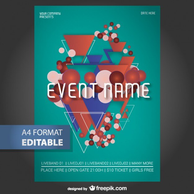 Geometric editable poster template Vector Free Download