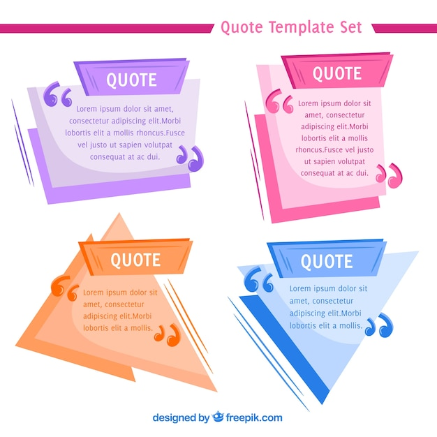 Geometric quote templates with flat design Vector Free Download