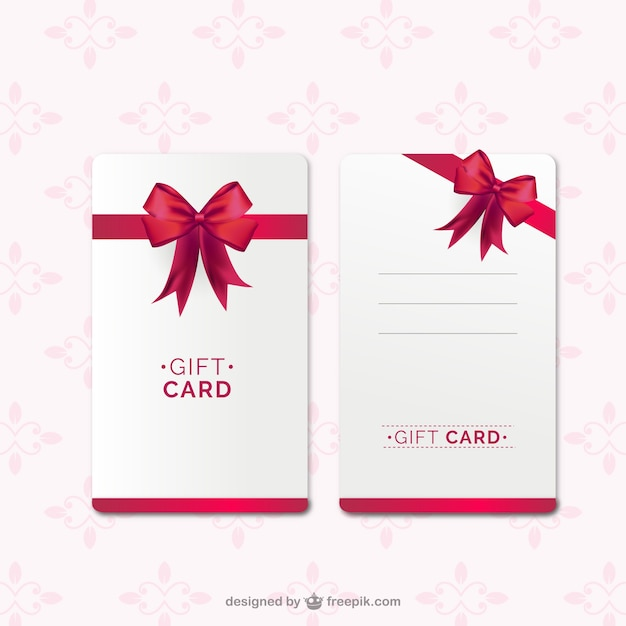 Gift card template with red ribbon Vector Free Download