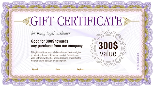 Gift certificate blank template Vector Premium Download