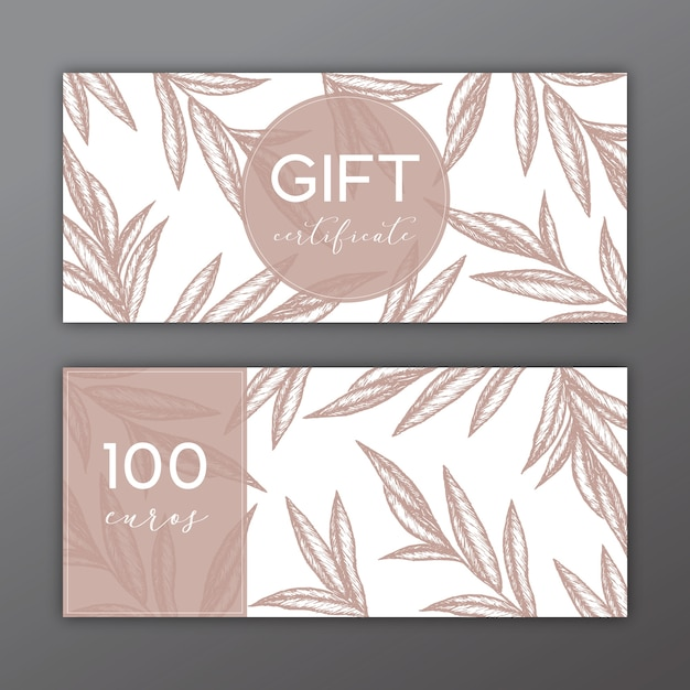 Gift certificate template with hand drawn illustrations Vector - gift certifcate template