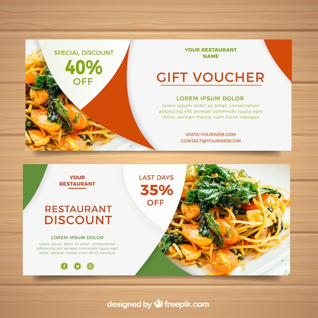 Gift voucher design Vector Free Download - food voucher template