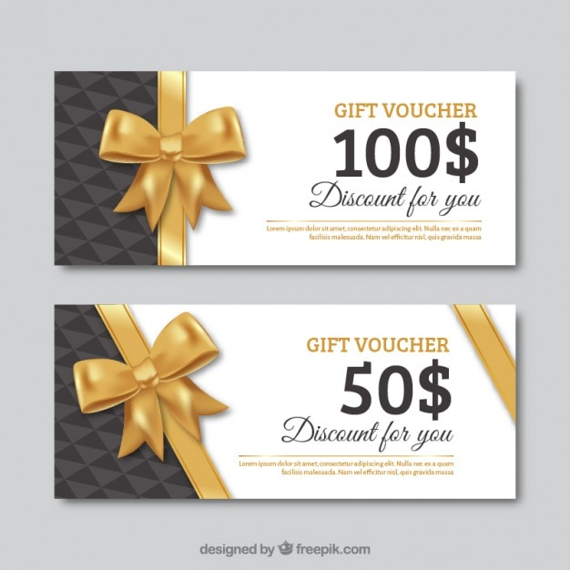 Gift voucher set with a golden bow Vector Premium Download - gift certificate download