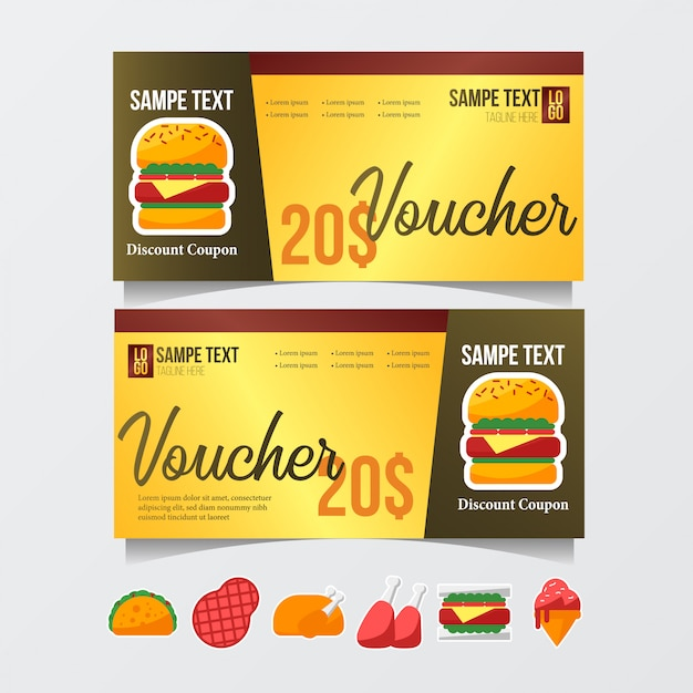 Gift voucher template with food icon Vector Premium Download - food voucher template