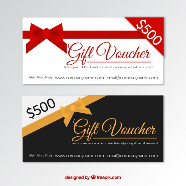 Gift vouchers with decorative ribbon in flat design Vector Free