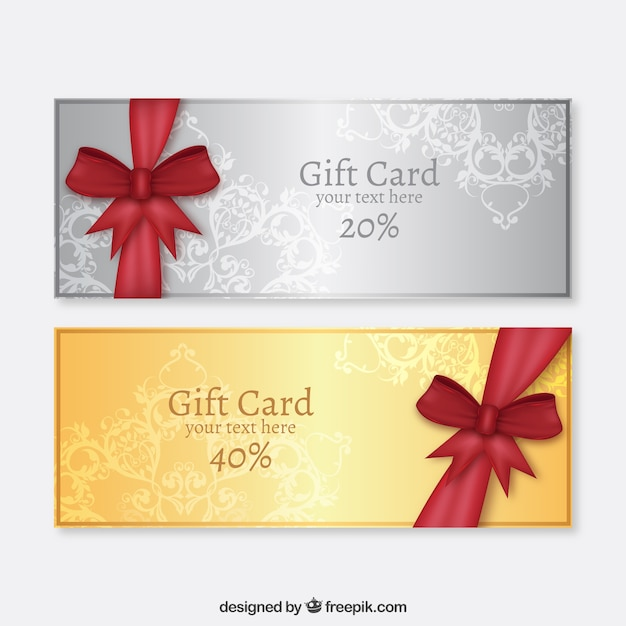 Golden and silver gift cards Vector Premium Download