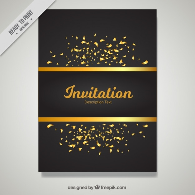 Golden and black invitation template Vector Free Download