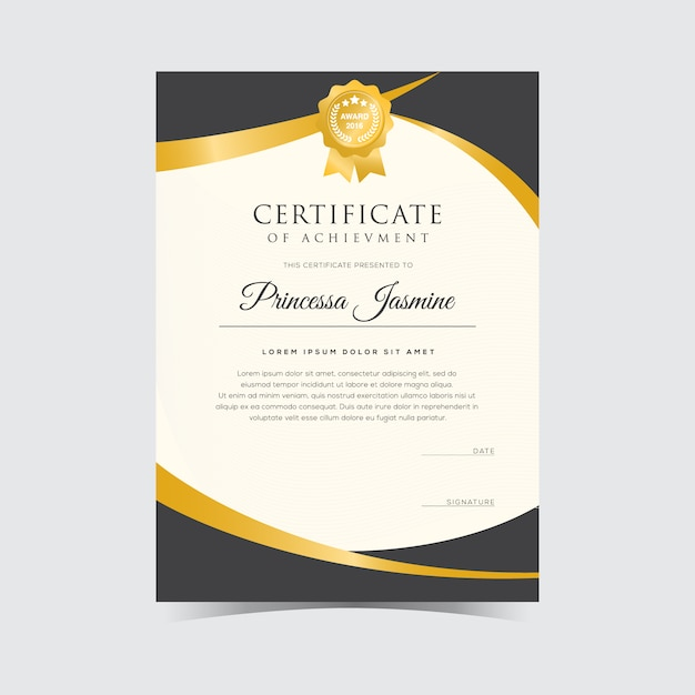 Golden certificate template Vector Free Download - certification templates
