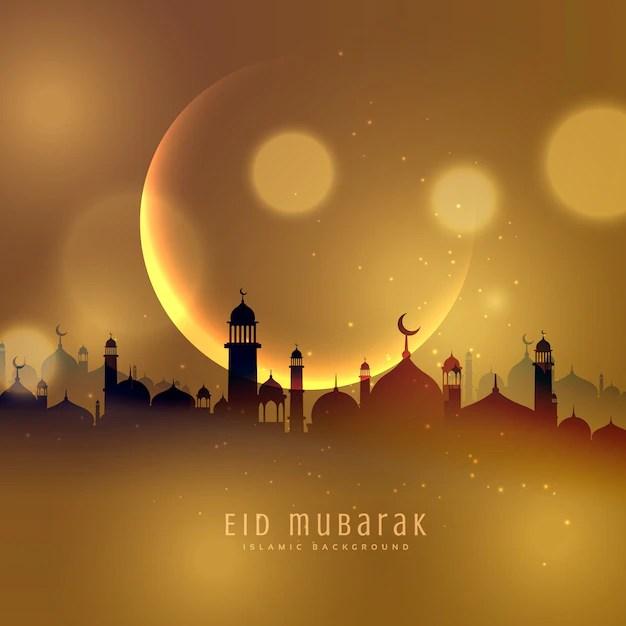 Baby Krishna Wallpaper 3d Golden City Background Of Eid Mubarak Vector Free Download