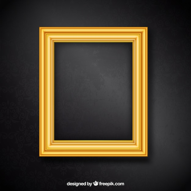 Black Wood Wallpaper Golden Frame Vector Free Download