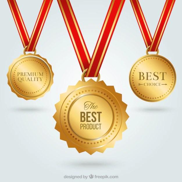 Golden medals Vector Free Download - gold medal templates