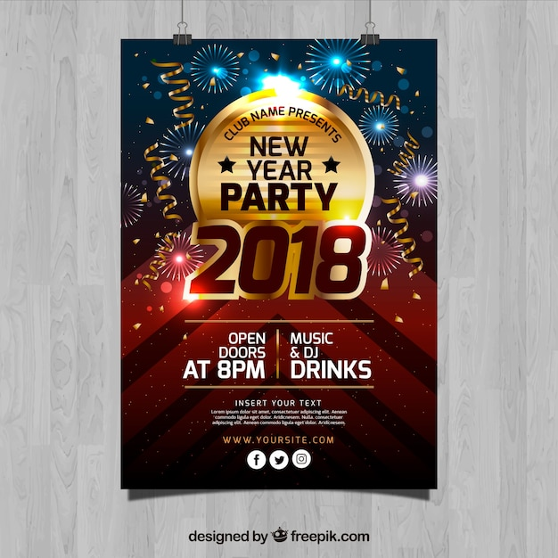 Golden new year party flyer template Vector Free Download - new year poster template