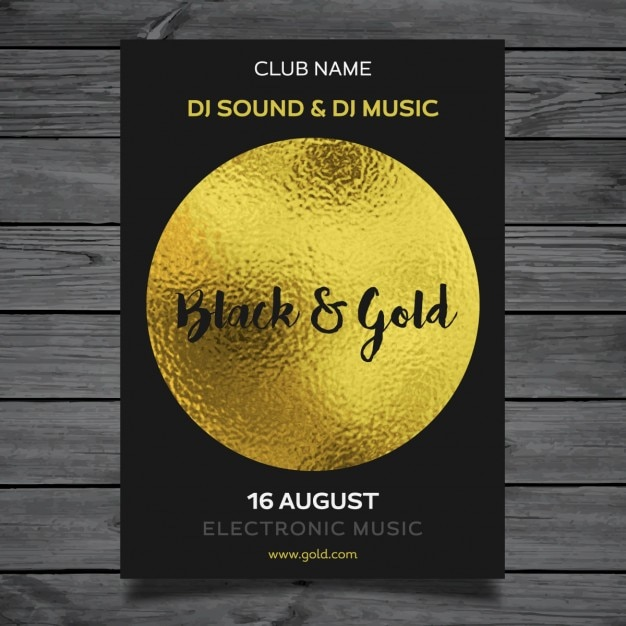 Golden party poster template Vector Free Download