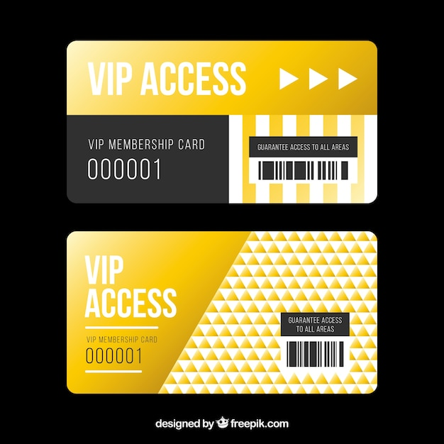 Golden set of vip access cards Vector Free Download - membership cards design