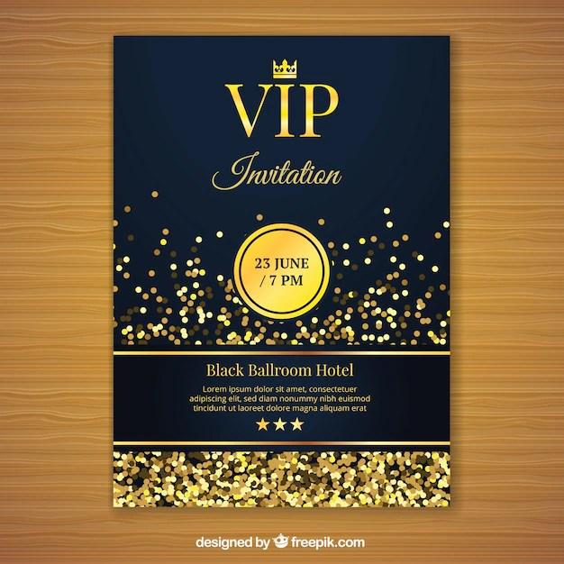 Golden vip invitation template Vector Free Download