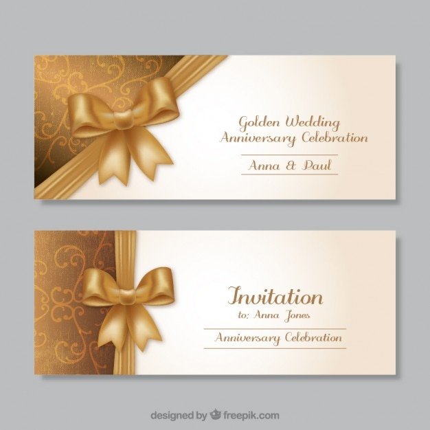 Golden wedding anniversary invitations Vector Free Download - anniversary invitation template