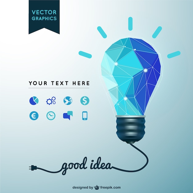 Good idea background with polygonal light bulb Vector Free Download