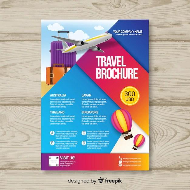Gradient travel flyer template Vector Free Download