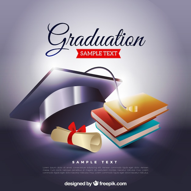 Graduation background with biretta and books Vector Free Download