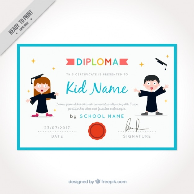Graduation certificate for kids with blue frame Vector Free Download