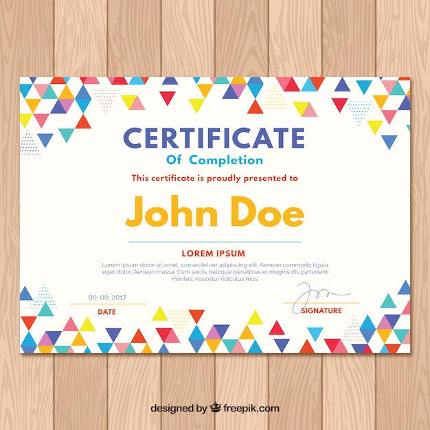 Graduation certificate with colored triangles Vector Free Download