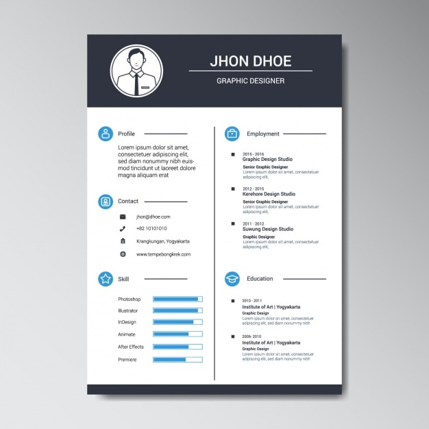 Graphic designer resume template Vector Free Download - Free Graphic Design Resume Templates