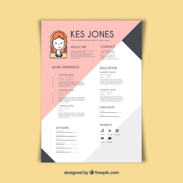 Graphic designer resume template Vector Free Download - resume template for teenager