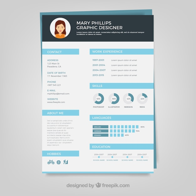 Graphic designer resume template Vector Free Download - graphic designer resumes