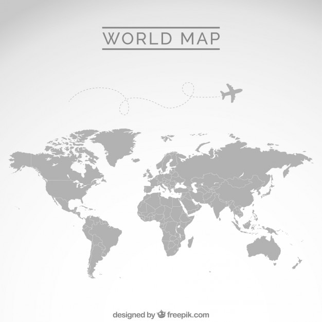 Gray world map Vector Free Download
