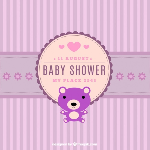 Great baby shower invitation with striped background Vector Free