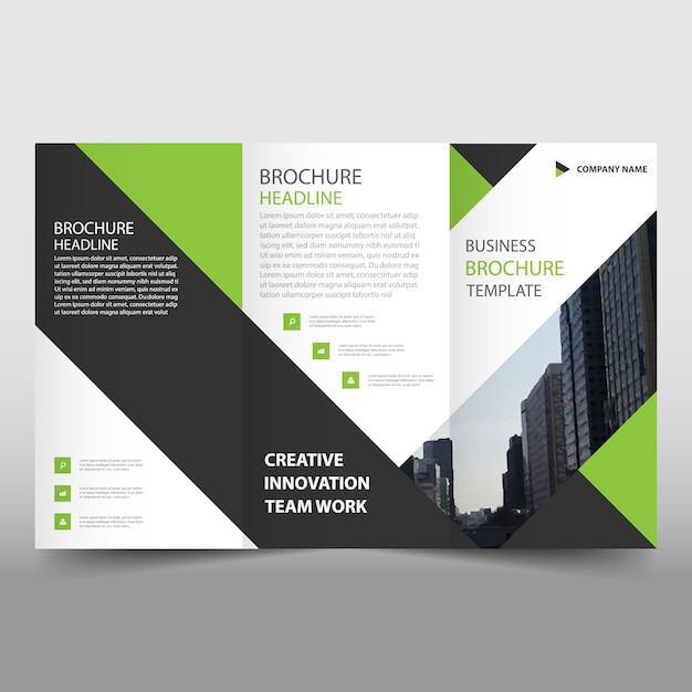 Green and black trifold leaflet template Vector Free Download - tri fold brochure
