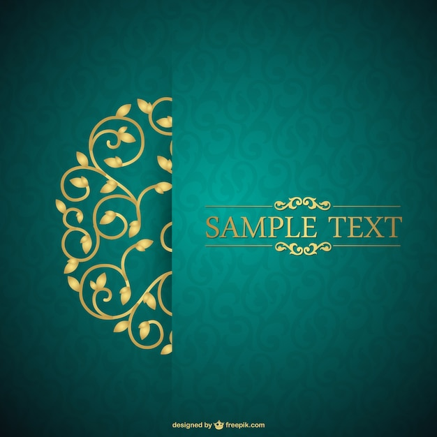 Green and floral vintage card Vector Free Download - free download invitation templates