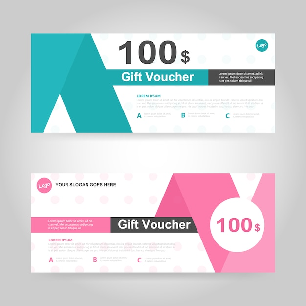 Green and pink gift voucher template Vector Free Download - gift voucher template