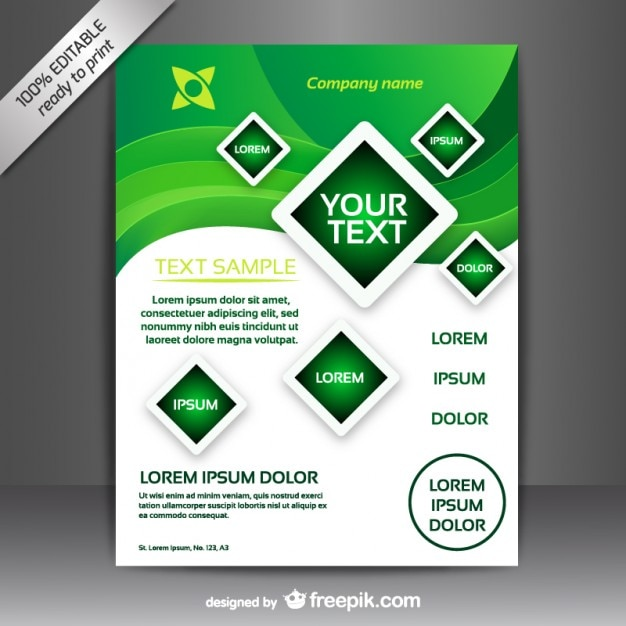 Green and white brochure template Vector Free Download - free pamphlet design