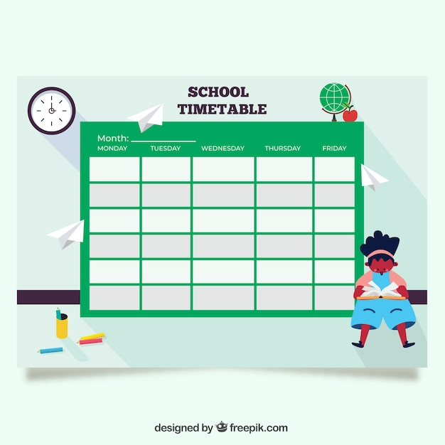 Green back to school timetable template Vector Free Download