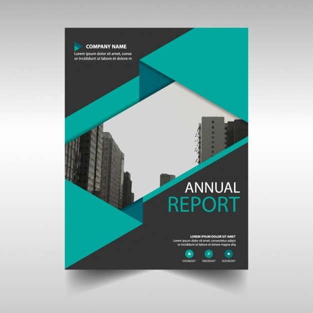 Green and black annual report cover template Vector Free Download