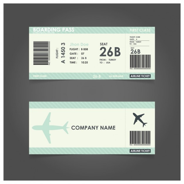 Green boarding pass template Vector Free Download