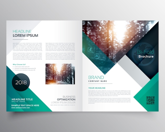 Green business brochure template Vector Free Download